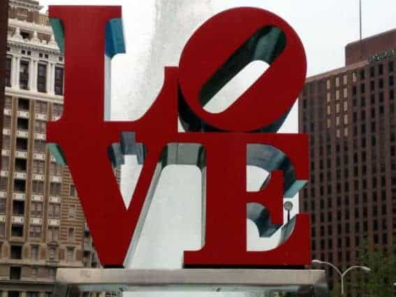 Love Statue in the City of Brotherly Love Philadelphia, CA