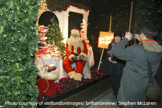 Christmas in London: A Christmas window display at Selfridges department store on Oxford Street