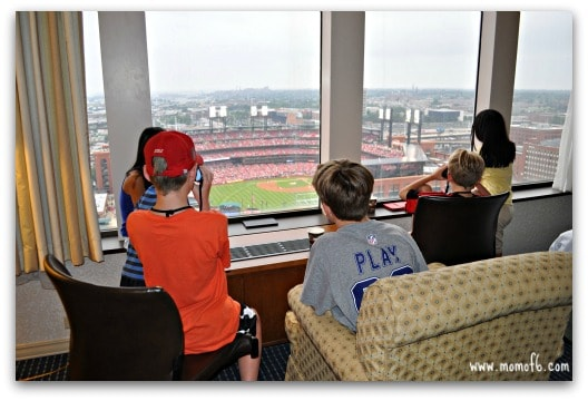 Watching the Cardinals game from our hotel room window at the Hilton St Louis Ballpark