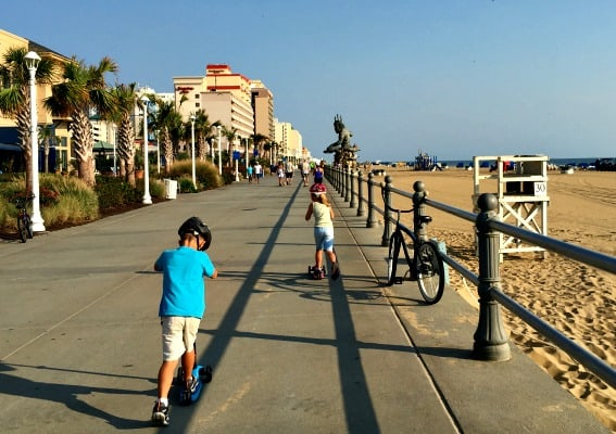 Top 10 things for families to do in Virginia: virginia-beach-boardwalk-scooter
